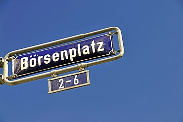 Boersenplatz street, street sign against a blue sky, financial district, Frankfurt, Hesse, Germany, Europe