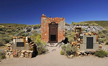 Foundations and vault of the Bodie Bank amidst bank ruins, ghost town of Bodie, a former gold mining town, Bodie State Historic Park, California, United States of America, USA