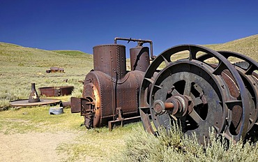 Old machine to produce hydro-electric energy, hydropower plant, ghost town of Bodie, a former gold mining town, Bodie State Historic Park, California, United States of America, USA