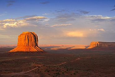 Mesa, Merrick Butte and Raingod Mesa after a thunderstorm in the evening light, Monument Valley, Navajo Tribal Park, Navajo Nation Reservation, Arizona, Utah, United States of America, USA