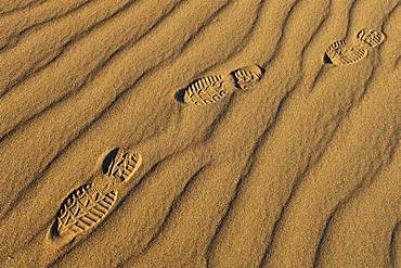 Footprints in the sands of the Mesquite Flat Sand Dunes, Stovepipe Wells, Death Valley National Park, Mojave Desert, California, United States of America, USA