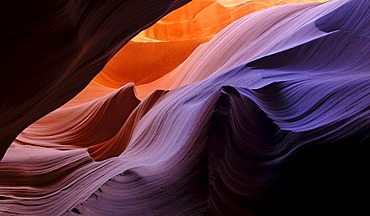 The Wave rock formation, red sandstone of the Moenkopi Formation, rock formations, colours and textures in the Lower Antelope Canyon, Corkscrew Canyon, Page, Navajo National Reservation, Arizona, United States of America