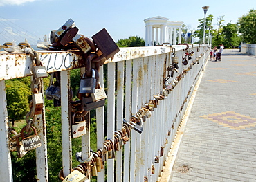 Locks on the Mother-in-law's bridge, the love character, Odessa, Ukraine, Europe