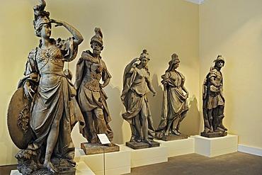Bavarian Rococo sculptures, Minerva, Mars, Hebe the so-called Jupiter by Johann Baptist Straub, circa 1772, linden wood, Bavarian National Museum, Munich, Bavaria, Germany, Europe