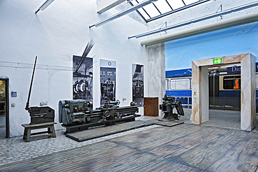 Section of the MVG-Museum where old tools are being exhibited, lathe, Muenchner Verkehrsgesellschaft, MVG, Munich Public Transportation Company, Munich, Bavaria, Germany, Europe