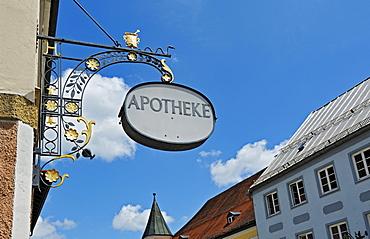 Pharmacy sign, Wolfratshausen, Bavaria, Germany, Europe