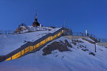 Weather station on the Saentis mountain in full moon light, Alpstein, Appenzell Outer-Rhodes, Appenzell Inner-Rhoden, Switzerland, Europe, PublicGround