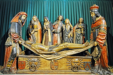 Entombment of Jesus, group of sculptures, Abbaye Saint-Pierre de Moissac abbey church, Via Podiensis or Chemin de St-Jacques or French Way of St. James, UNESCO World Heritage Site, Moissac, Departement Tarn-et-Garonne, Midi-Pyrenees, France, Europe