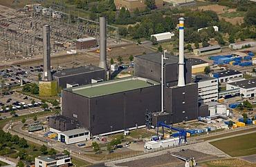 Aerial view, Brunsbuettel Nuclear Power Plant, Elbe, Dithmarschen, Schleswig-Holstein, Germany, Europe