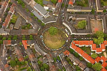 Aerial view, Borsigplatz square, motorcade to celebrate the team of the BVB, Borussia Dortmund, after winning the German Bundesliga 2011, Dortmund, Ruhr area, North Rhine-Westphalia, Germany, Europe