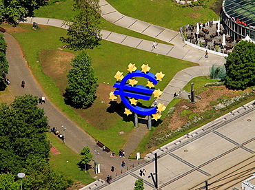Aerial view, euro sign, European Central Bank, ECB, Frankfurt am Main, Hesse, Germany, Europe