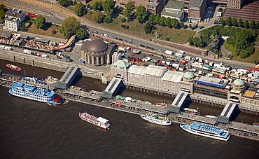Aerial view, paddle steamer, Old Elbe Tunnel, Elbe river, Landungsbruecken landing stages, Sankt Pauli, Hamburg, Germany, Europe