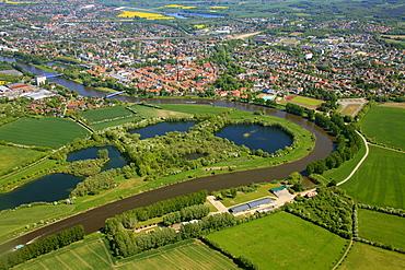 Aerial view, old town, Weser, Nienburg, Lower Saxony, Germany, Europe