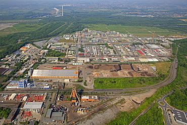 Aerial view, Bayer Schering Pharma AG, Bayer HealthCare Pharmaceuticals, pharmaceutical plant, Bergkamen, Ruhr area, North Rhine-Westphalia, Germany, Europe