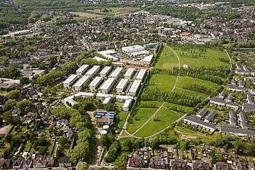 Aerial view, Prosper III, a former coal mine, Heinrich-Gutemuth-Strasse housing area, pithead stocks, Bottrop, Ruhr area, North Rhine-Westphalia, Germany, Europe