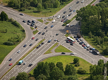 Aerial view, crossroads, Prosperstrasse street, Arensbergstrasse street, B224 federal highway, Bottrop-Boy, Ruhr area, North Rhine-Westphalia, Germany, Europe