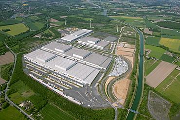 Aerial view, Kaufland Logistik Eving Logistik-Park Westfalenhuette logistics park, with compensating areas of former landfills, Dortmund, Ruhrgebiet region, North Rhine-Westphalia, Germany, Europe