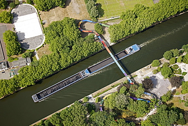 Aerial view, Slinky Springs To Fame, illuminated sculpture by Tobias Rehberger on the pedestrian and bicycle bridge crossing the Rhine-Herne Canal, Oberhausen, Ruhr area, North Rhine-Westphalia, Germany, Europe