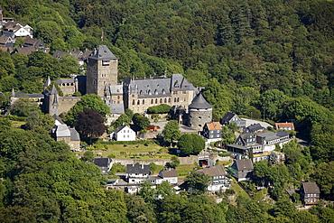Aerial view, Schloss Burg castle, Adolf V. von Berg, Royal Palace, Wupper, Solingen, Bergisch Land, Sauerland, North Rhine-Westphalia, Germany, Europe