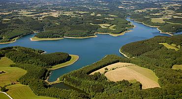 Aerial view, Grosse Dhuenntal Dam, Rheinisch-Bergisch district, North Rhine-Westphalia, Germany, Europe