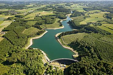 Aerial view, Herbringhauser Talsperre dam, Herbringhauser Bach creek, Bergisches Land region, North Rhine-Westphalia, Germany, Europe