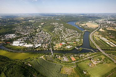 Aerial view, river Ruhr between the Hagen, Dortmund and Herdecke cities, Koepchenwerk pumped storage power plant in Herdecke, Hengstey run-of-the-river hydroelectric power station, Hagen, Sauerland region, North Rhine-Westphalia, Germany, Europe
