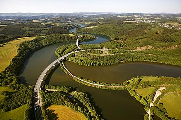 Aerial view, Bigge Reservoir, Biggetal Dam, expressway, Kreis Olpe district, Sauerland, North Rhine-Westphalia, Germany, Europe