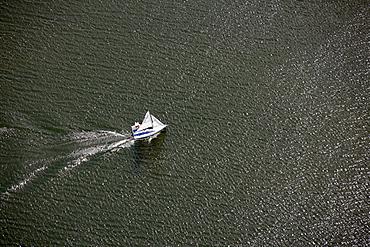 Aerial view, sailing ship, Roebel, Mueritz, Mecklenburg-Western Pomerania, Germany, Europe