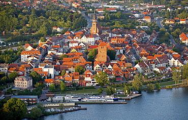 Aerial view, Waren, Mueritz county, Mecklenburg-Western Pomerania, Germany, Europe