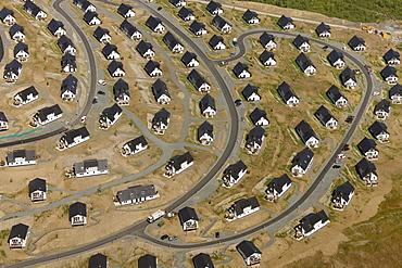 Aerial view, Suerenberg building site, holiday accommodation, recreation area, Winterberg, Sauerland, North Rhine-Westphalia, Germany, Europe