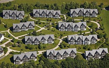 Aerial view, vacation homes, Winterberg, Sauerland, North Rhine-Westphalia, Germany, Europe