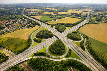 Aerial view, A44 and A43 motorway junction, Autobahn, Bochum, Ruhr Area, North Rhine-Westphalia, Germany, Europe