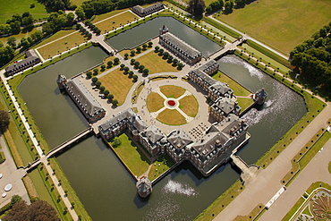 Aerial view, Schloss Nordkirchen Castle, a moated castle with a baroque park, Muensterland, North Rhine-Westphalia, Germany, Europe