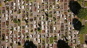 Aerial view, urn graves, Olpe, Sauerland, North Rhine-Westphalia, Germany, Europe