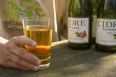 Cidre Normand, glass and bottles