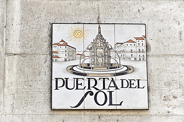 Puerta del Sol, road sign, downtown, old town, Madrid, Spain, Europe