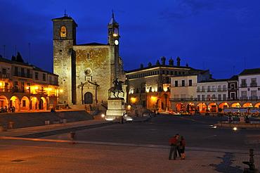 Plaza Mayor, city square of Trujillo with San Martin church, Extremadura, Spain, Europe