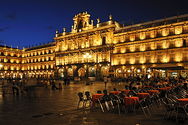 Plaza Mayor, city square of Salamanca, Unesco World Heritage Site, Castile and Leon, Castilia y Leon, Spain, Europe