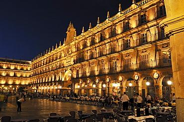 Plaza Mayor, city square, Salamanca, Unesco World Heritage Site, Castile and Leon or Castilia y Leon, Spain, Europe