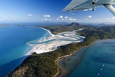 Aerial shot of Whitehaven Beach, Whitsunday Island, Great Barrier Reef, Queensland, Australia