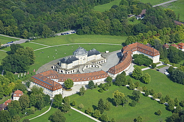 Aerial view, Schloss Solitude palace, built 1763-1769 as a hunting and entertainment palace of Duke Carl Eugen von Wuerttemberg, Stuttgart, Baden-Wuerttemberg, Germany, Europe
