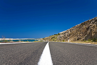 Coastal road on Pag Island, Zadar, Dalmatia, Croatia, Europe