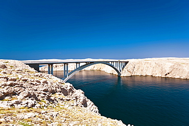 Pag Bridge connecting the mainland with Pag Island, Zadar, Dalmatia, Croatia, Europe