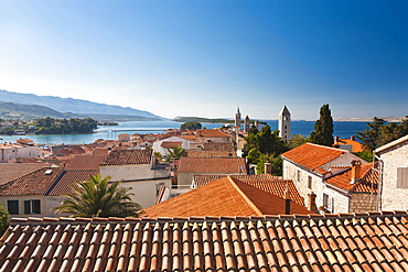 View towards the four bell towers of the town of Rab, Rab Island, Primorje-Gorski Kotar, Croatia, Europe