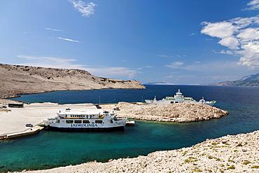 Ferry port in Zigljen, Pag Island, Zadar, Dalmatia, Croatia, Europe