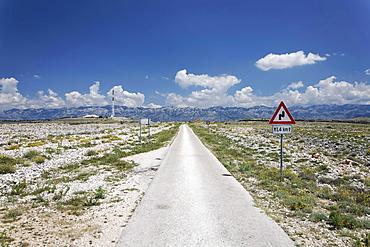 Country road on Pag island, Zadar, Croatia, Dalmatia, Europe