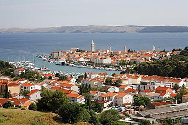 View of the town of Rab, Rab island, Primorje-Gorski Kotar county, Croatia, Europe