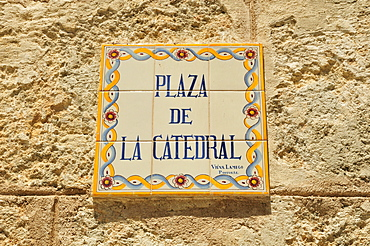Street sign at the Plaza de la Catedral square, old town Habana Vieja, Havana, Cuba, Caribbean