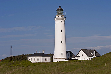 Lighthouse with outbuildings and lighthouse keeper's cottage, Hirthals, Northern Jutland, Denmark, Europe, PublicGround