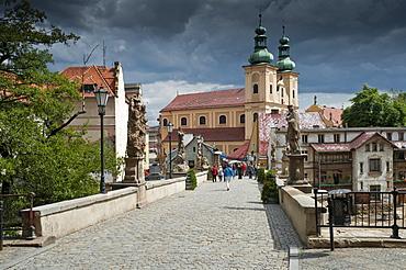 Gothic bridge and Franciscan church, Klodzko, Lower Silesia, Lesser Poland or Malopolska, Poland, Europe, PublicGround